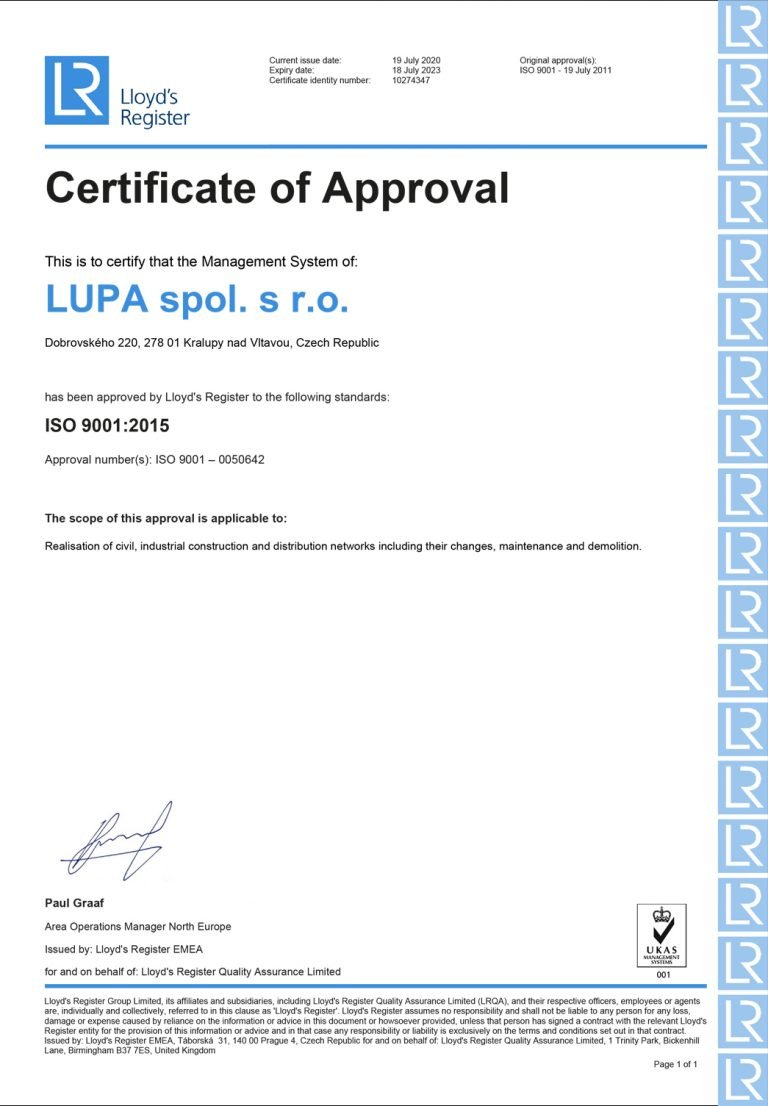 Certifikát | Lupa s.r.o. stavební firma
